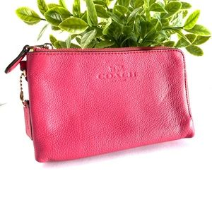 Coach Double-Corner Pink Pebbled Leather Wallet